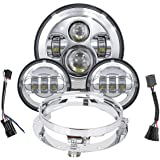 TRUCKMALL 7 inch LED Headlight Fog Passing Lights DOT Kit Ring Motorcycle for Harley Davidson Touring Road King Ultra Classic