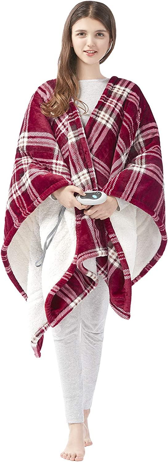 "Beautyrest Ultra Soft Sherpa Berber Fleece Electric Poncho Wrap Blanket Heated Throw with Auto Shutoff, 50"" W x 64"" L, Red Plaid"