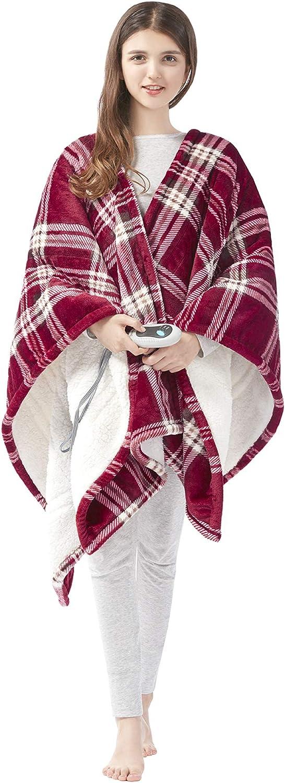 "Beautyrest Ultra Soft Sherpa Berber Fleece Electric Poncho Wrap Blanket Heated Throw with Auto Shutoff, 50"" W x 64"" L, Red Plaid"
