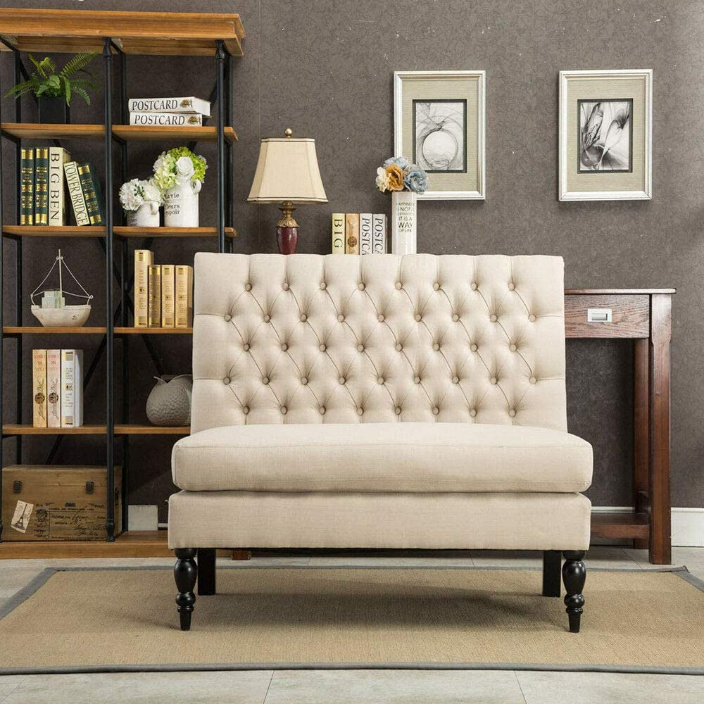 Unik Always Button Tufted Settee Loveseat Sofa Couch Banquette Upholstered Bench Chair Khaki
