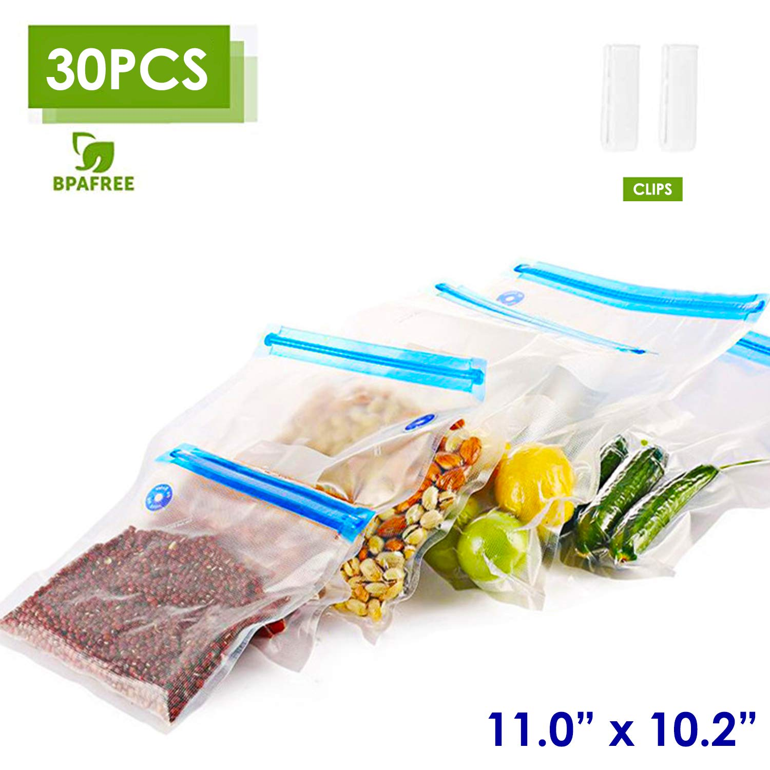 "VICARKO Quart Vacuum Sealer Bags Zipper Bags for Food Saver and Storage, compatible with VICARKO Handheld Vacuum Sealer Model VK9939 | 11.0"" * 10.2"", 30-Pack, Medium"