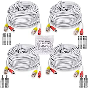 HISVISION 4 Pack 100FT/30M BNC Video Power Cable Security Camera Wire Cord Extension Cable with 8pcs BNC Connectors and 100pcs Cable Clips for CCTV DVR Surveillance System(White)