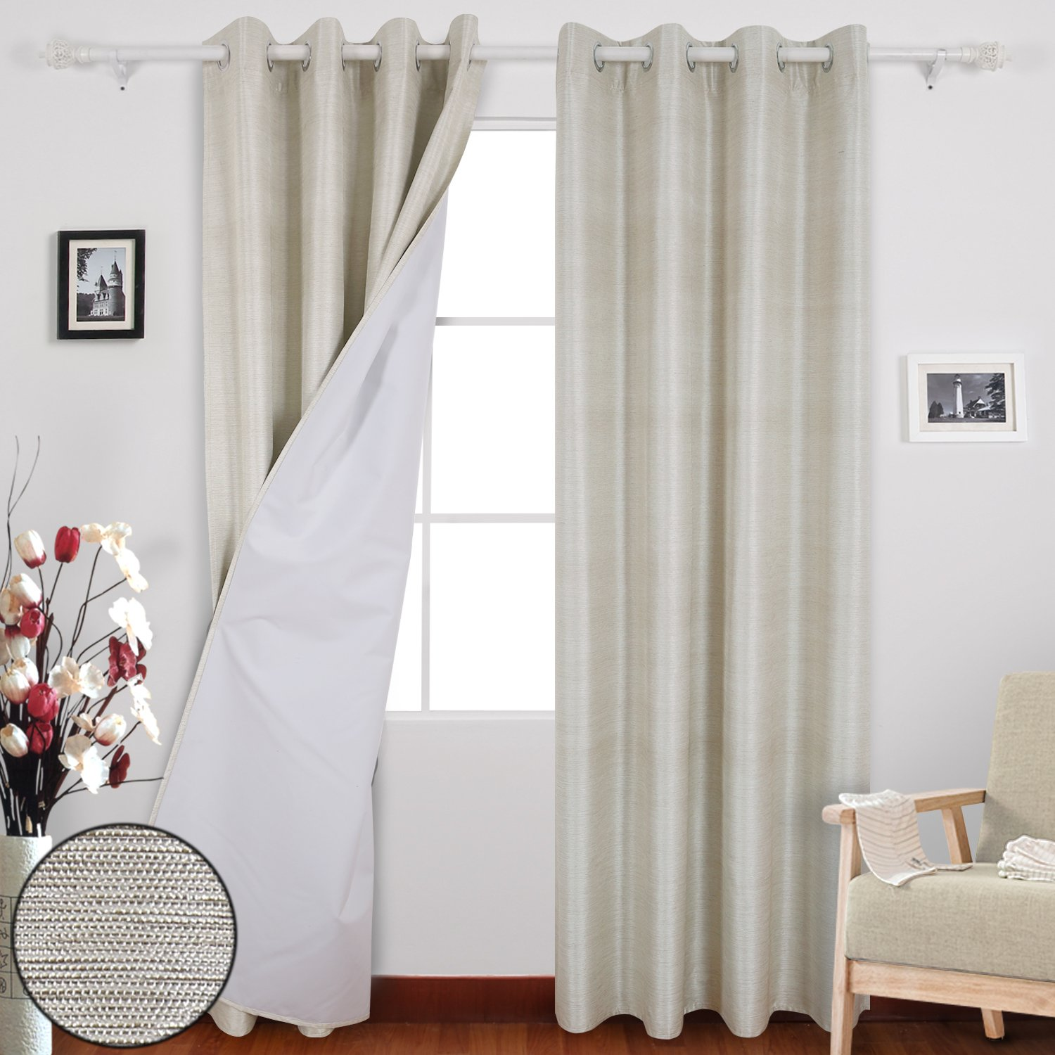 Deconovo Decorative Textured Stripe Thermal Insulated Grommet Blackout Curtains With Coating Back Layer for Bedroom Beige