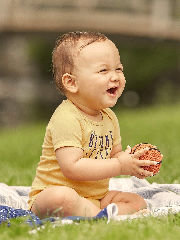 JUST BORN Baby-Boys 4-Pack Organic Short-Sleeve Bodysuit Infant-and-Toddler-Bodysuits