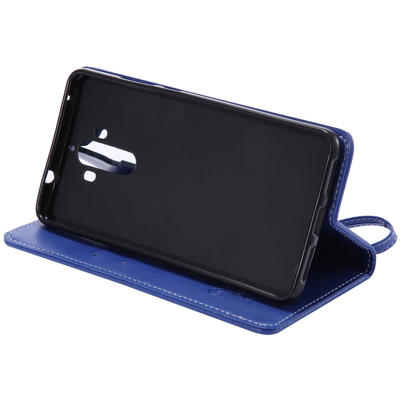 Huawei Mate 9 Bo/îtier en cuir Or Ecoway Papillon Rose Embossage PU Cuir en Housse de protection Coques avec porte-cartes Porte-monnaie Porte-monnaie Ceinture d/étachable pour Huawei Mate 9