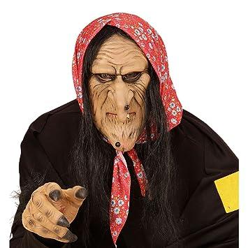 Bruja Máscara Máscara Máscara de bruja con pelo carnaval máscara máscara de bruja Halloween malvado zauberin