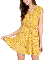 Allegra K Women's Floral Crossover V Neck Petal Sleeves Flowy Dress w Belt