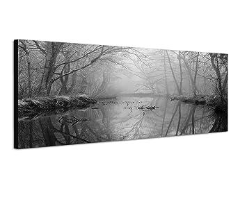 augenblicke wandbilder keilrahmenbild panoramabild schwarz weiss 150x50cm wald b ume fluss nebel. Black Bedroom Furniture Sets. Home Design Ideas