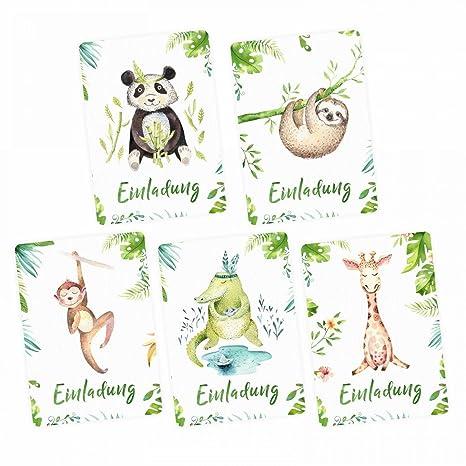 nikima – 5 tarjetas de invitación Juego – Cocodrilo, Panda, perezoso, jirafa,