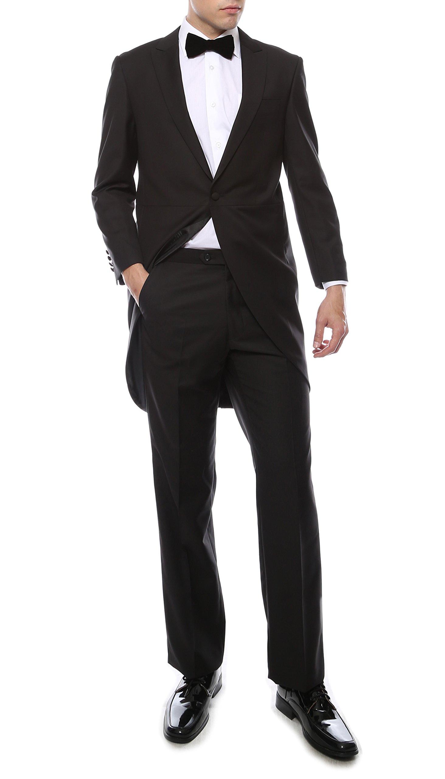 Ferrecci Men's Regular Fit Peak Lapel Black Cutaway Tuxedo Suit with Tux Pants & Tailcoat (36 Regular) by Ferrecci