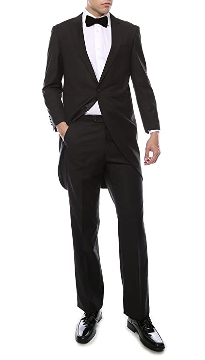 Men's Vintage Style Suits, Classic Suits Ferrecci Men's Regular Fit Peak Lapel Tailcoat Tuxedo Suit with Tux Pants & Tail Coat $110.00 AT vintagedancer.com
