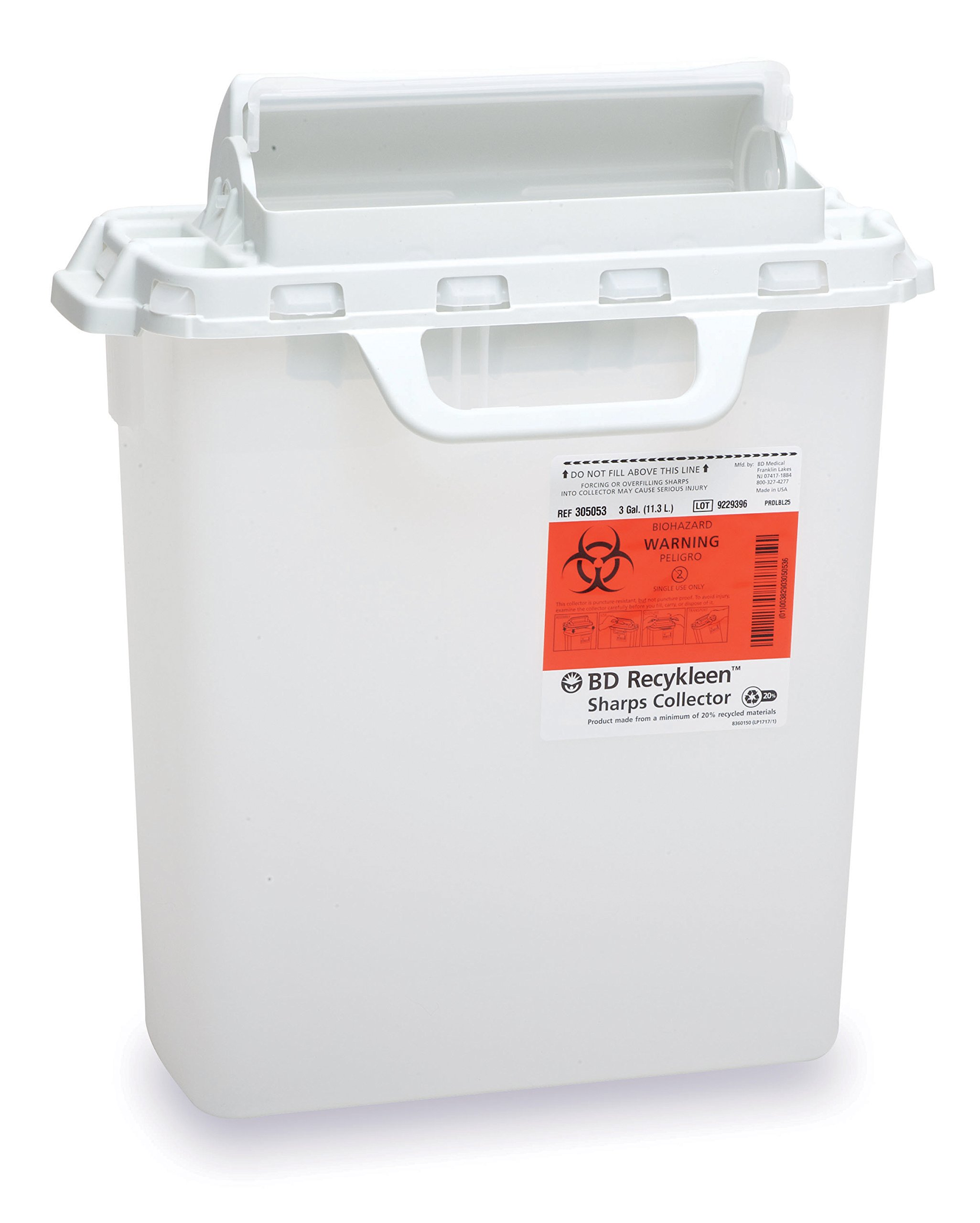 BD Medical Systems 305053 Recycleen Counterbalanced Door Sharps Collector, Pearl, 3 gal Capacity, 15.75'' x 13.5'' x6'' Size (Pack of 10)
