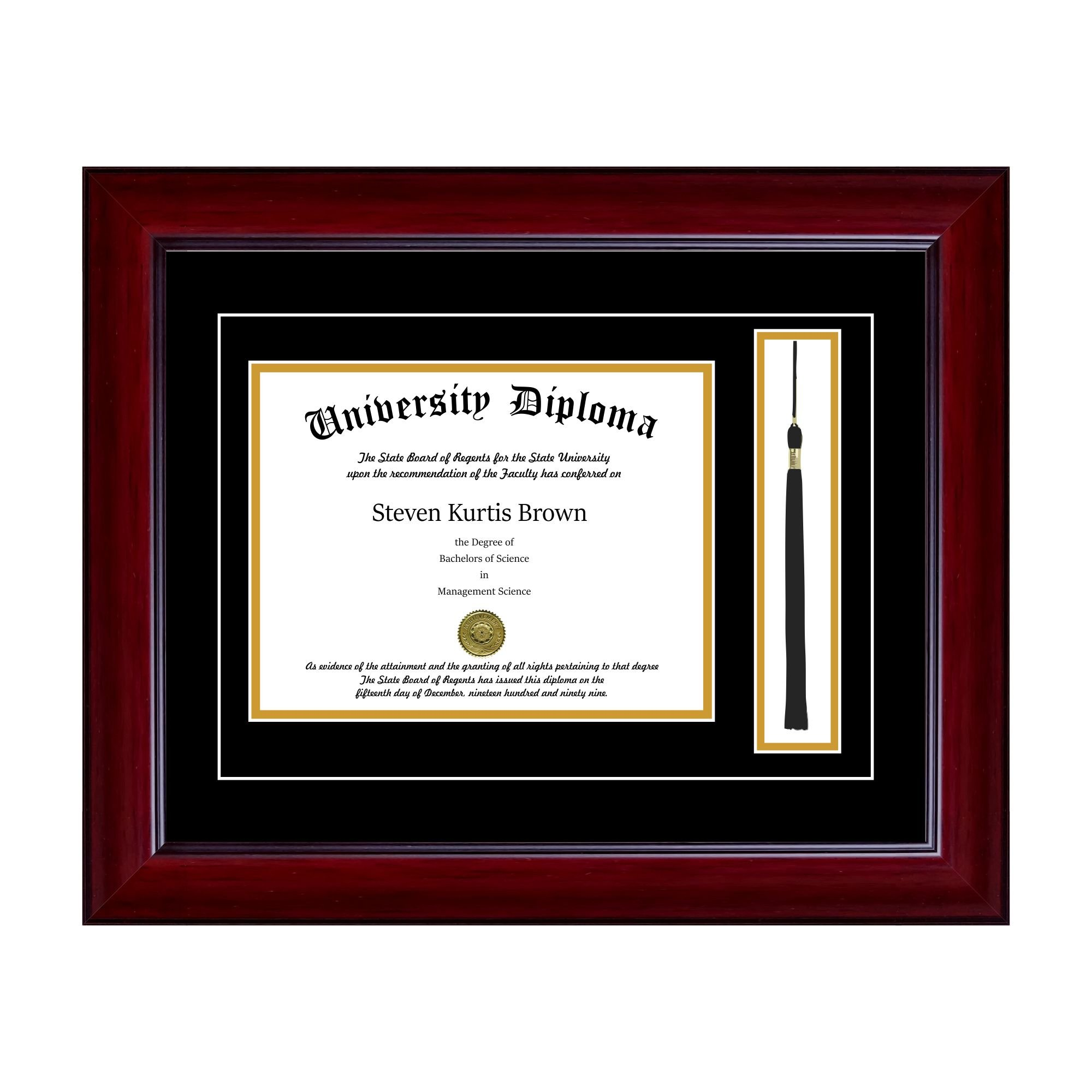 Single Diploma Frame with Tassel and Double Matting for 14'' x 11'' Tall Diploma with Mahogany 2'' Frame by Perfect Cases