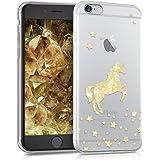 kwmobile Funda para Apple iPhone 6 / 6S - Carcasa Protectora de [TPU] con diseño de Unicornio Brillante en [Dorado/Transparente]