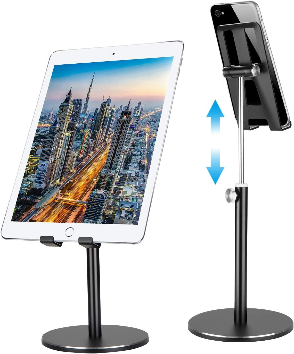 """Cell Phone Stand for Desk,Shenboxun Aluminum Cell Phone Holder,Height Angle Adjustable Cell Phone Stand,Metal Base Phone Stand Compatible with All Smartphone,iPhone and Tablet (4-12"""") - Black"""