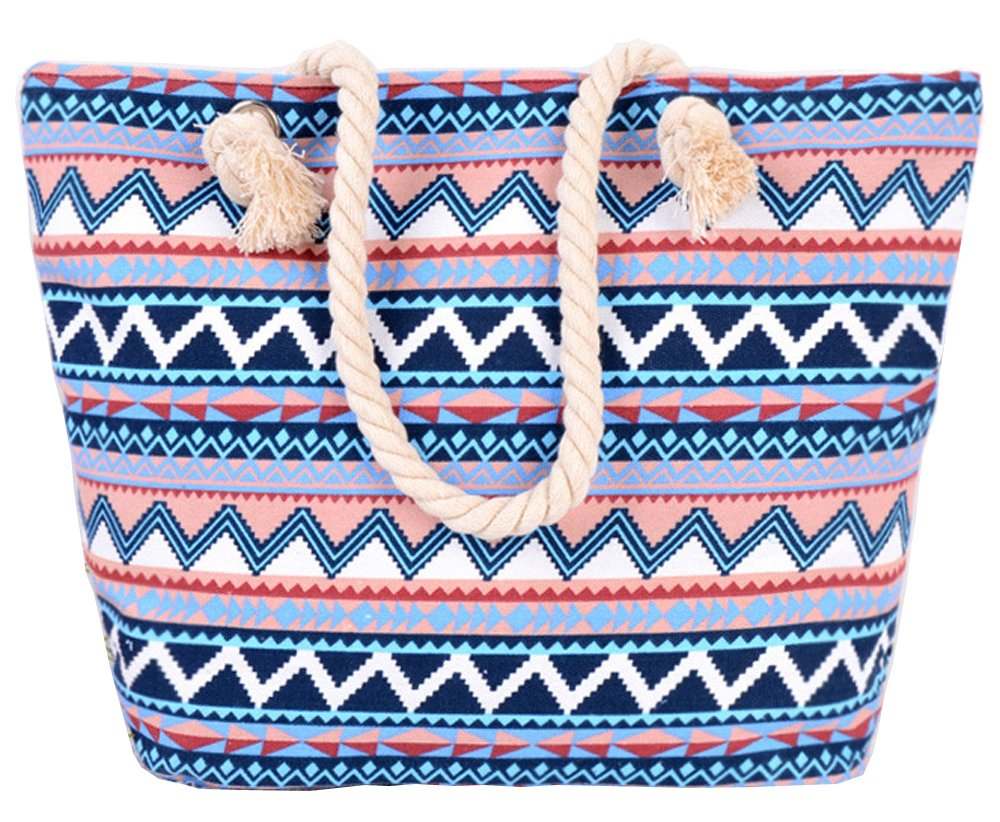 Pulama Women Beach Tote Canvas Shoulder Bag Wave Striped Anchor Summer Handbag Top Handle Bag Straw Beach Bag Multi Blue