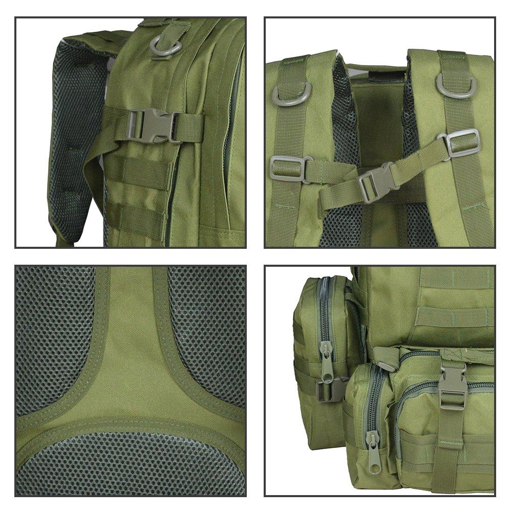 Verde militar TOPQSC Mochila de moda 55L M/últiples colores para Senderismo Monta/ñismo Marcha Macuto al aire libre Bolsa de viaje de calidad alta Mochila T/áctica Militar Versi/ón Actualizada