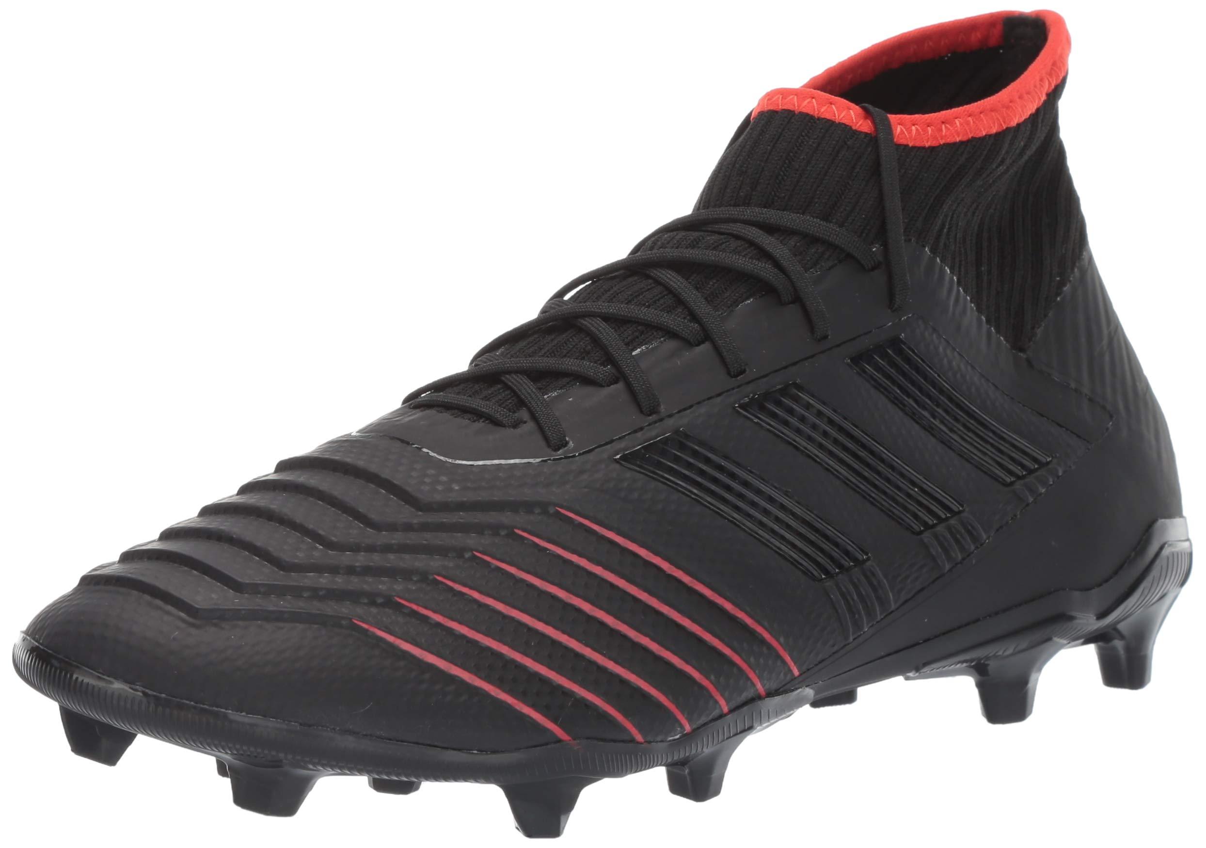 adidas Men's Predator 19.2 Firm Ground, Black/Active red, 7 M US