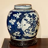 China Furniture Online Porcelain Jar, Hand Painted Floral and Still-life Motif Ginger Jar with Lid Blue and White