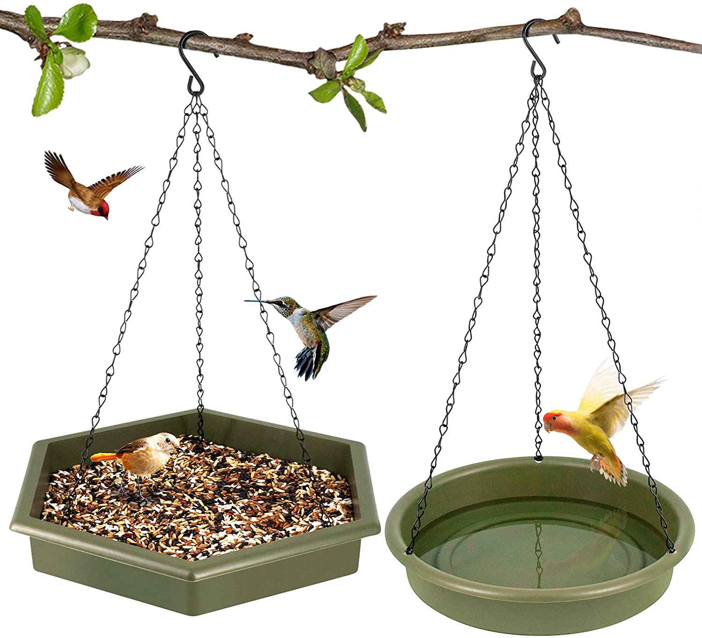 SWSM Bird Feeder and Bird Bath, 2 in 1 XL Hanging Bird Feeder & Bird Bath for Outside, Hanging Bird Feeder Hummingbird Feeders for Outdoors