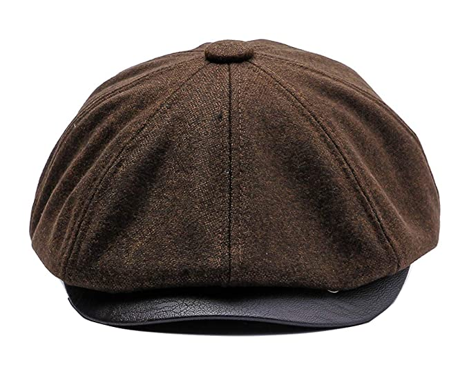 c698d0d753 Newsboy Style Flat Cap Mens Gatsby Hat 8 Panel Baker Boy Tweed Cap Peaky Hat