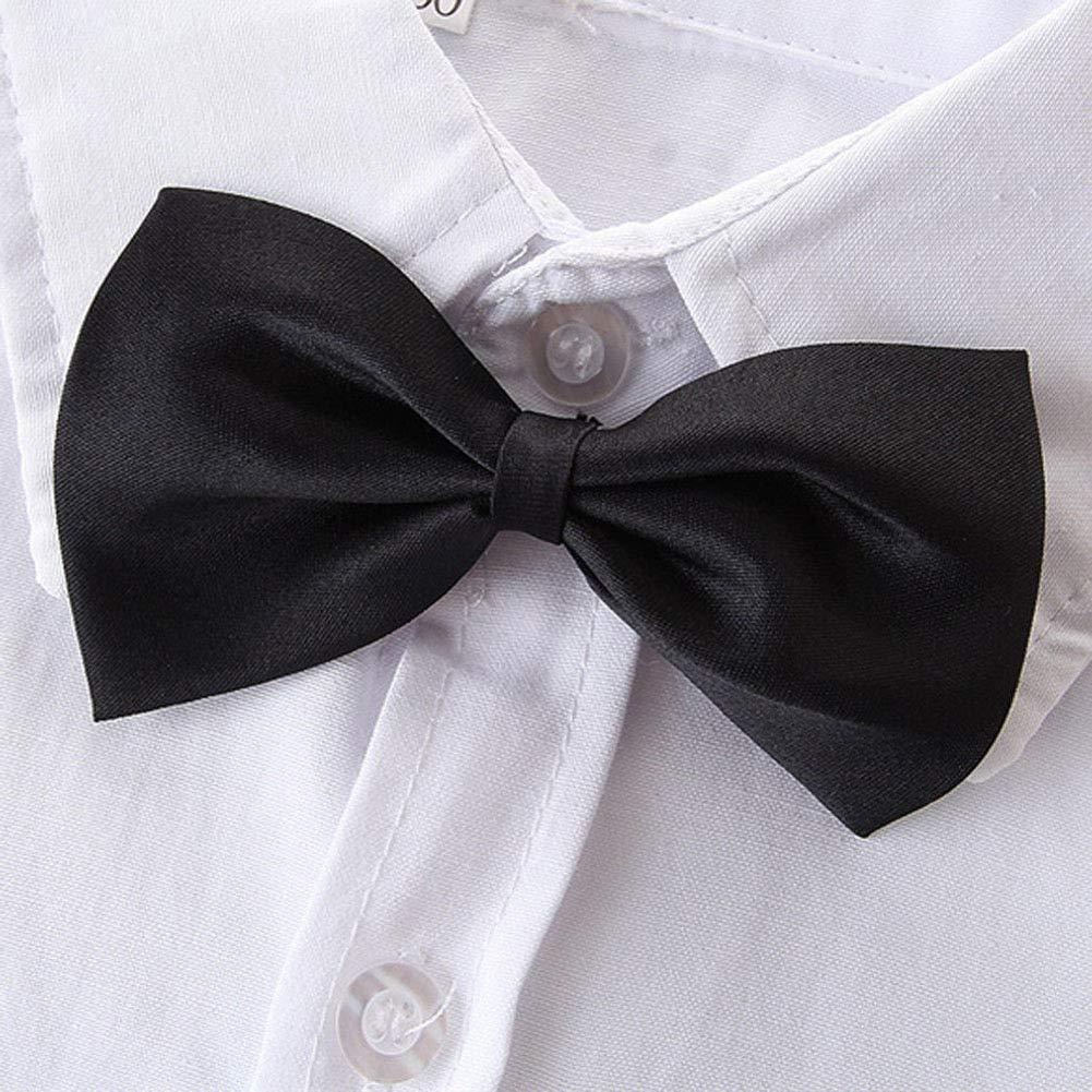 Toddler Boy Gentleman Outfit Short Sleeve White Bow Tie Shirt+Bib Pants Overalls 2Pcs Clothes Set