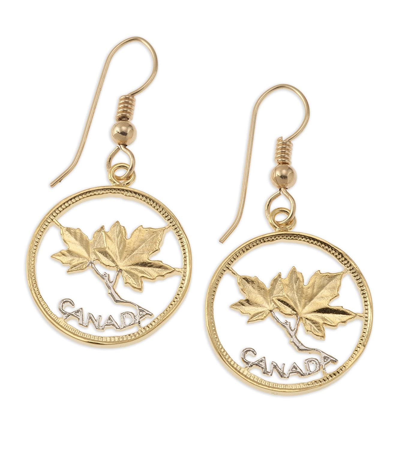 dbb2de2a2 Amazon.com: Canadian Maple Leaf Earrings, Canada One Cent Hand Cut Coin:  Jewelry
