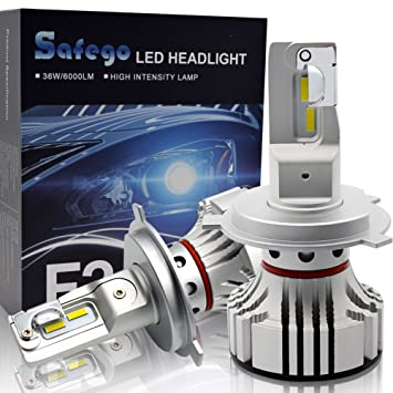H4 LED Faro Bombillas Kit - Safego 72W LED Chips 6000LM LED Coche Kit de Conversión