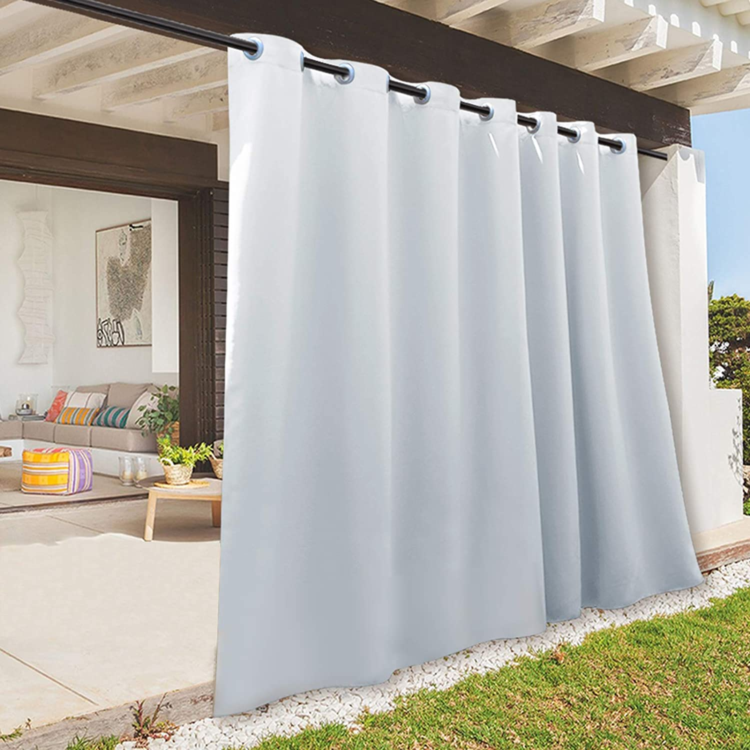 RYB HOME 108 inches Long Outdoor Curtains Plus Long Porch Curtains Outdoor Waterproof Drape for Gazebo / Cabana / Lounge / Pergola Deck, 100-inch x 108 inches, 1 Panel, Grayish White