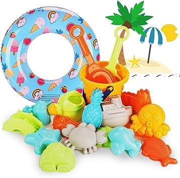 ARANEE 20 Pezzi Giocattoli da Spiaggia con Borsa a Rete Spiaggia di Sabbia Giocattoli Set Giochi Sabbia per Bambini, Giocattoli da Spiaggia Set Regali