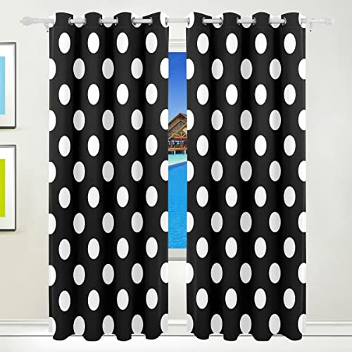 ALAZA Stylish Black White Polka Dot Window Curtain