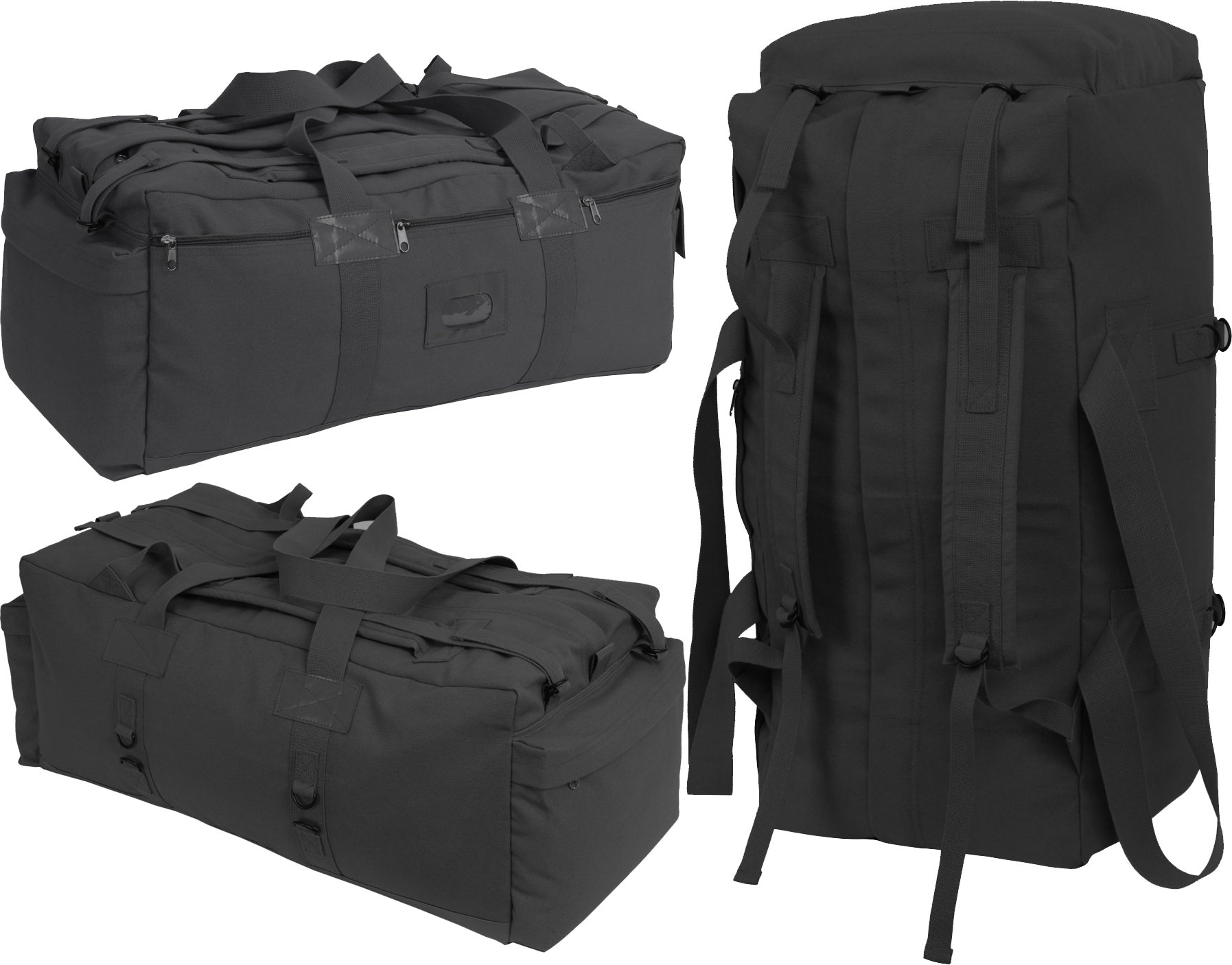 Black Israeli Military Mossad Tactical Carry Duffle Bag with Backpack Straps