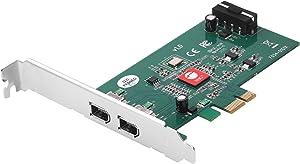 SIIG Dual Profile 2-Port FireWire 400 PCIe Card, PCIe 1.1 x1 to Dual 6-pin 1394a Port, 400Mbps, TI XIO2213BZAY Chipset, for Windows & Mac, Dual-Profile Brackets (NN-E20211-S1)