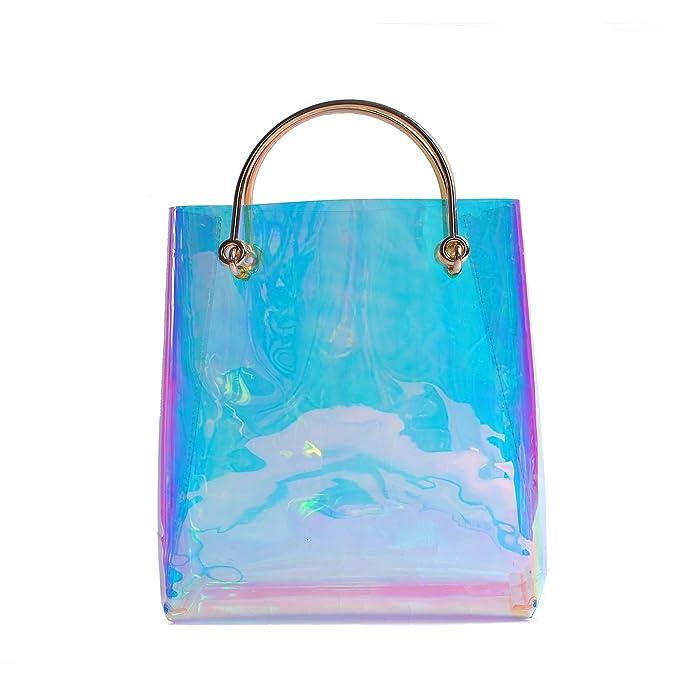 147383cb7e Amazon.com  Zarapack Large Hologram transparent Cable Shopper clear PVC Runway  Tote IT bag  Shoes