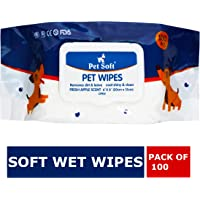 "Wowdog Wet Wipes for Dogs, Cats, Puppies & Pets -Fresh Apple Scent 6""x 8"" - Pack of 100 Wipes"