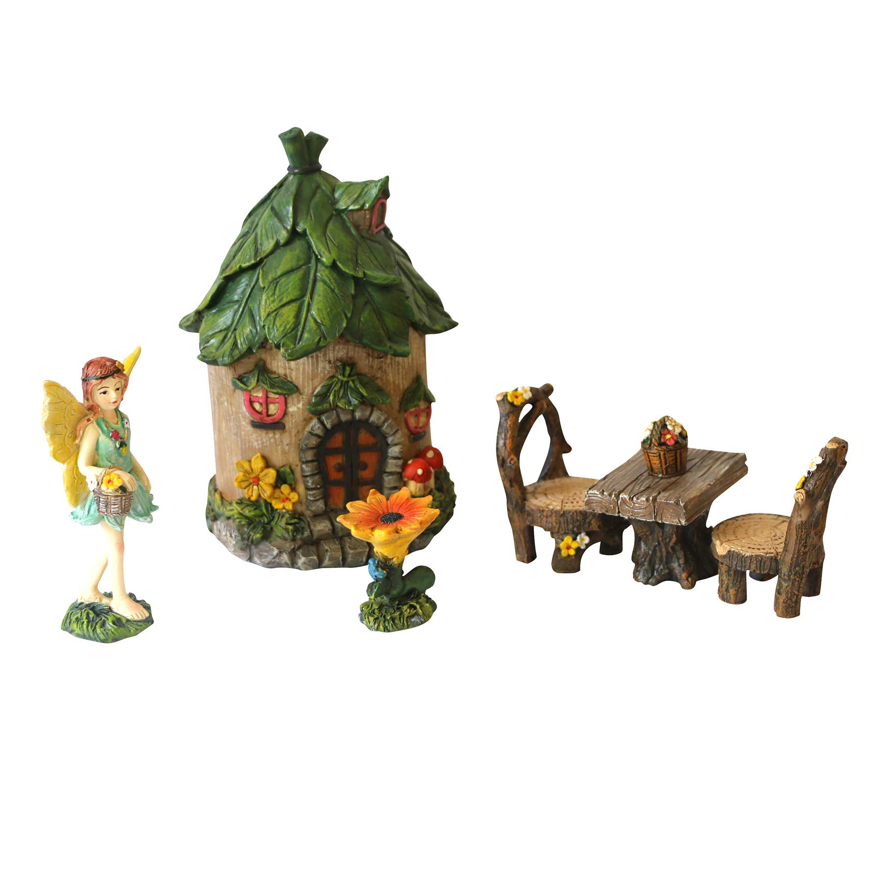 BangBangDa Miniature Fairy Garden Accessories - Small Fairy Figurines Decorations - Fairy House Table Chair Flower Kit for Mini Garden (Set of 6)