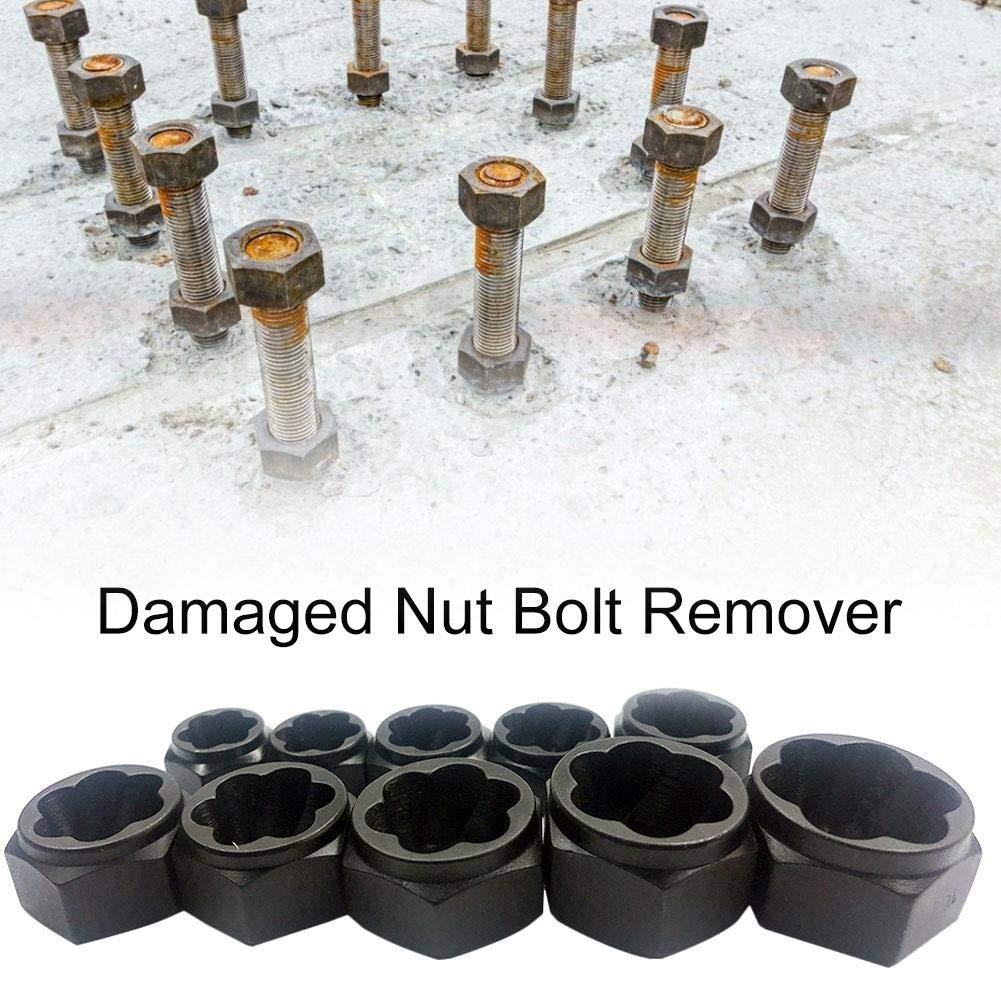 Makluce Damaged Nut Bolt Remover 10pcs Different Size Damaged Bolt Nut Removal Kit