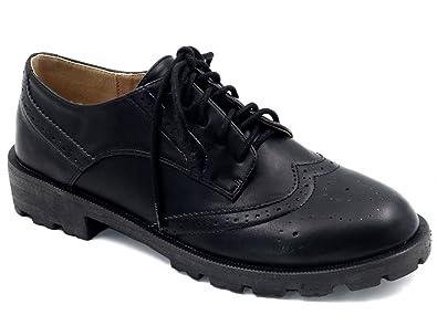 MaxMuxun Damen Oxford Schnürhalbschuhe Schwarz und Weiß 38 QBciFUc