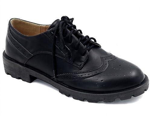 XTI 047512, Zapatos de Cordones Oxford para Mujer, Negro (Black), 39 EU