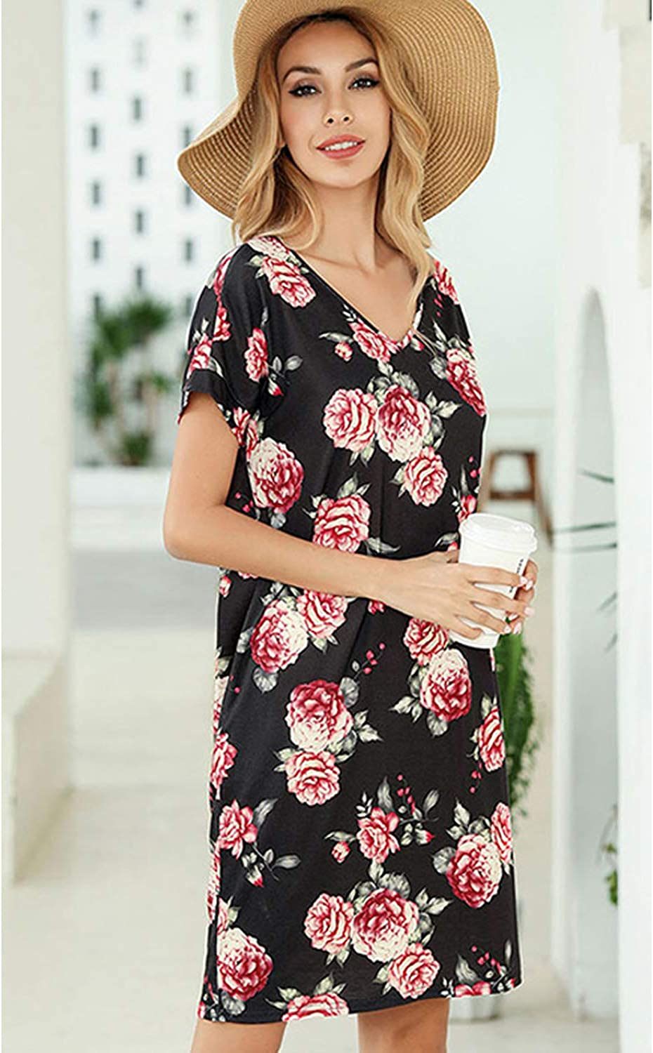 SOLERSUN Womens Casual T-Shirt Dresses Long Sleeve Tunic Loose Swing Dress with Pockets