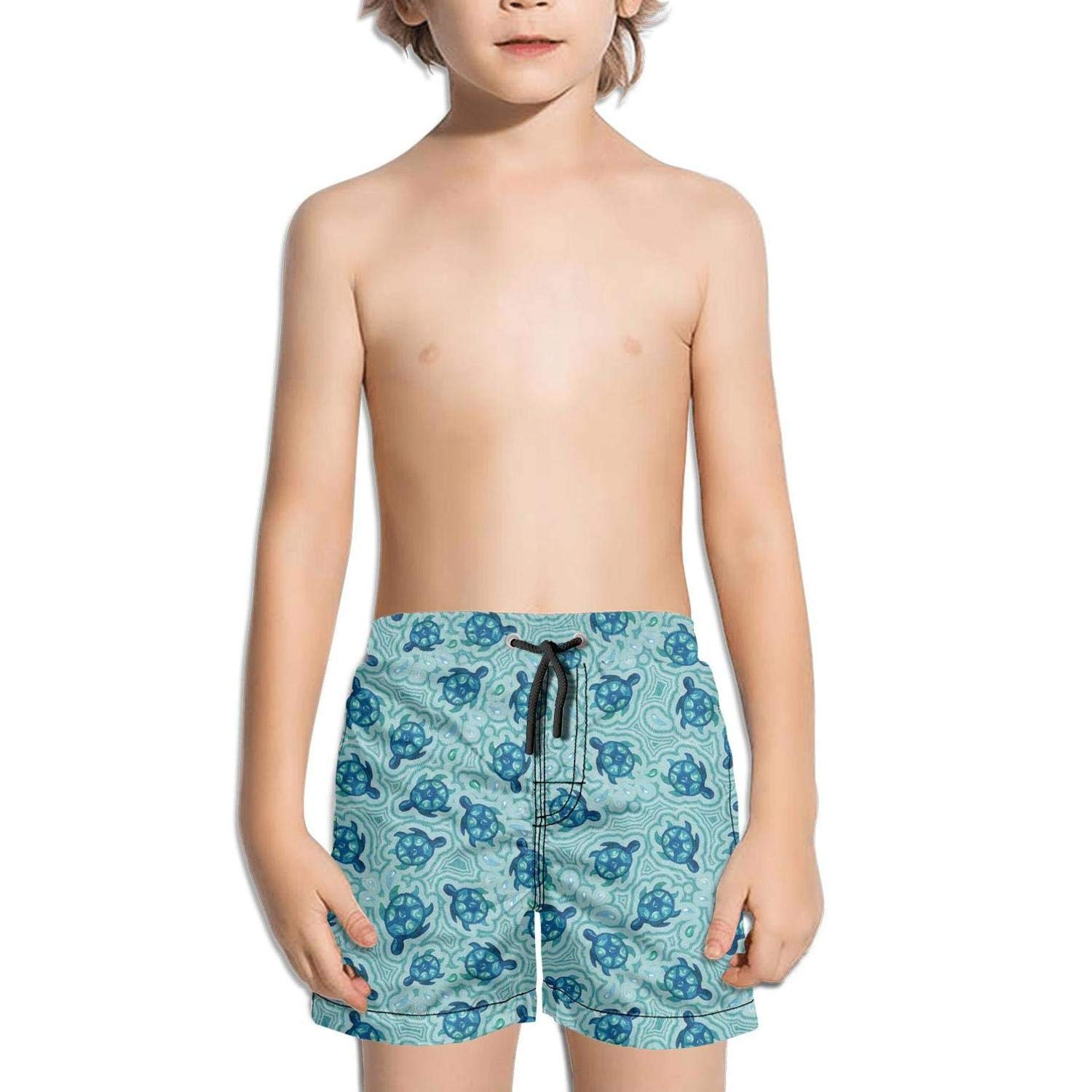 Watercolor Turtle in Water Shorts Swim for Kid Quick Dry Beach Printed Swimming Tucks Ultra Workout