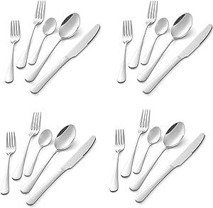 Sunwinc Silverware Set,20-Piece Stainless Steel Flatware Set,Cutlery Utensils Set Service for 4, Knife/Fork/Spoon/Tea Spoon/Salad Fork,Mirror Polished, Dishwasher Safe