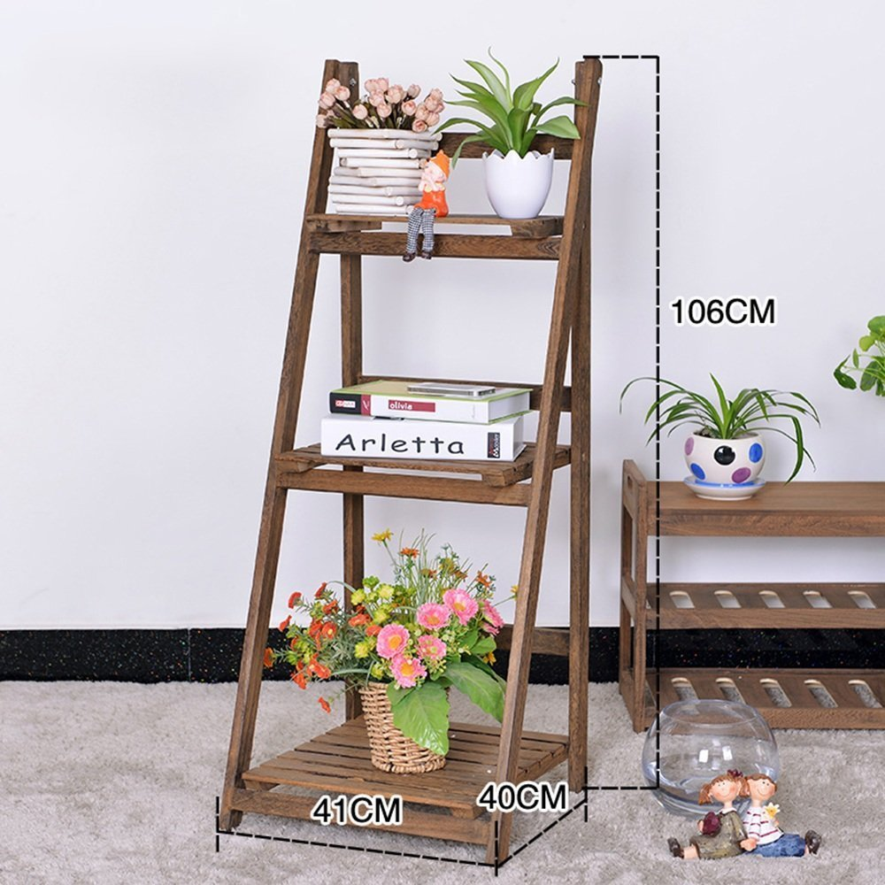 HOMEE Flower Rack Solid Wood Multi - Storey Shelf Simple Garden Interior Folding Flower Pot Rack Creative Floor Type Shelves(Multi-Color Optional) --Home Environment Decorations,1001