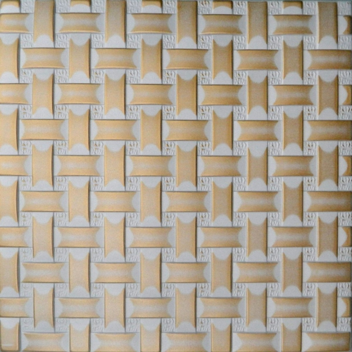 oro 500 x 500 mm Pintado a mano de espuma de poliestireno techo Retro 64 blanco