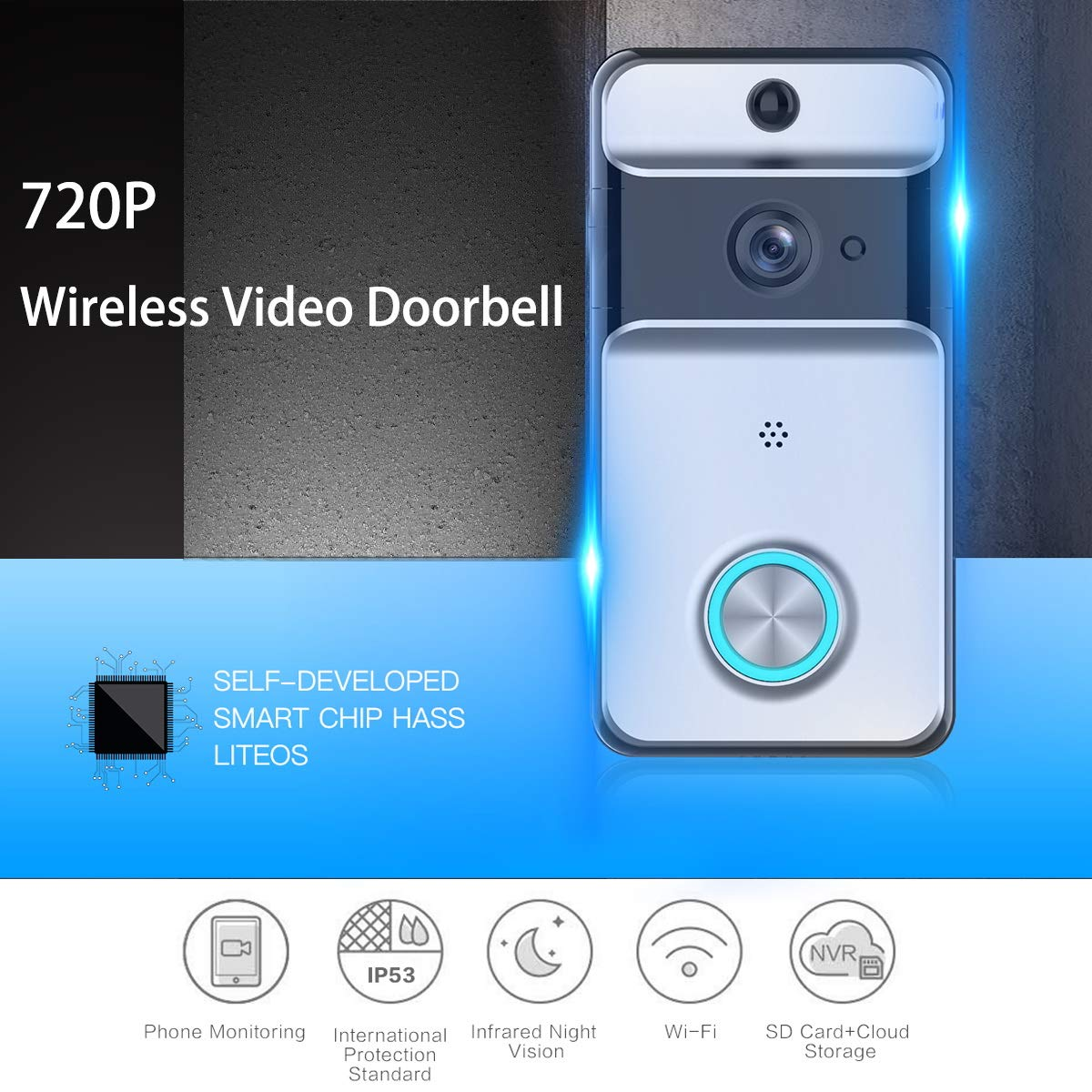 Video Doorbell Camera Wireless WIFI 720P Home Security Camera Monitor Waterproof Work with Alexa,PIR Detection,Night Vison,2 Way Audio,Free Cloud Storage Smart Doorbell iOS Android