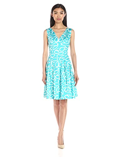 Anne Klein Women's Paisley-Printed Cotton V-Neck Fit-and-Flare Dress