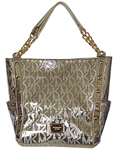 2f648e2191 Amazon.com  Michael Kors Pale Gold MK Mirror Metallic Signature Delancy  Large Shoulder Bag Tote Handbag Purse  Shoes