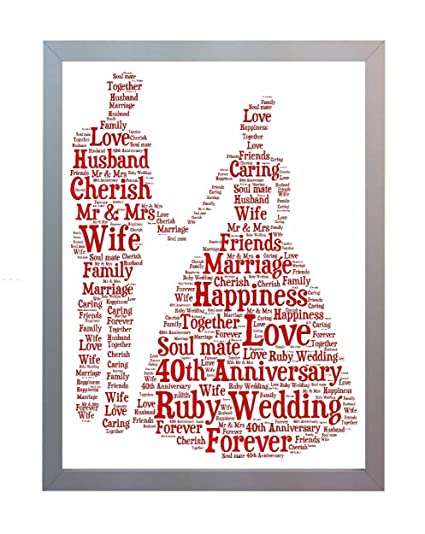 Framed 40th Ruby Wedding Anniversary Word Art A4 Print. Photo Picture Keepsake Gift for Mum, Dad, Gran, Grandad, Friend & Family: Amazon.co.uk: Kitchen & ...