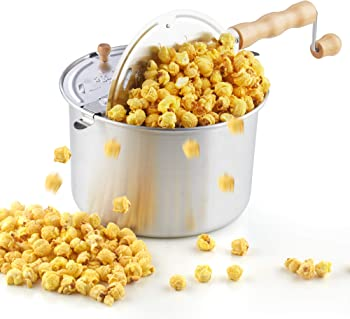 Cook N Home 02626 6-Quart Aluminum Stovetop Popcorn Popper