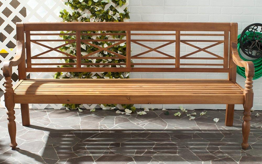 Safavieh Patio Collection Martin Adirondack Acacia Wood Bench, Natural